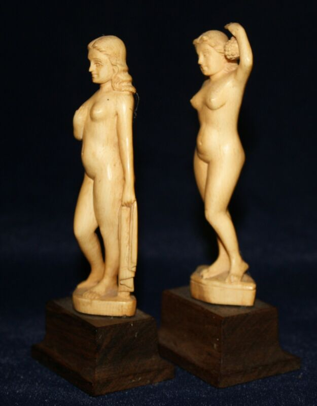 Pair of Hand-Carved figurines of Female Nudes (from India).
