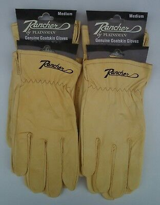 4 Pairs Plainsman Rancher Goatskin Leather Wholesale Work Gloves Med. Free Ship
