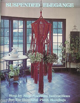 Suspended Elegance Macrame Vintage Pattern Instruction Book Plant Hangers NEW](Macrame Plant Hanger Instructions)
