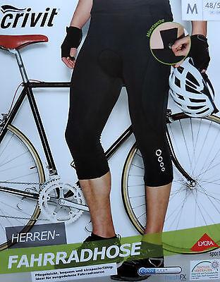 Herren Dreiviertel Fahrradhose Radhose Kurz 3/4 Sitzpolster M L XL Bike Rad NEU