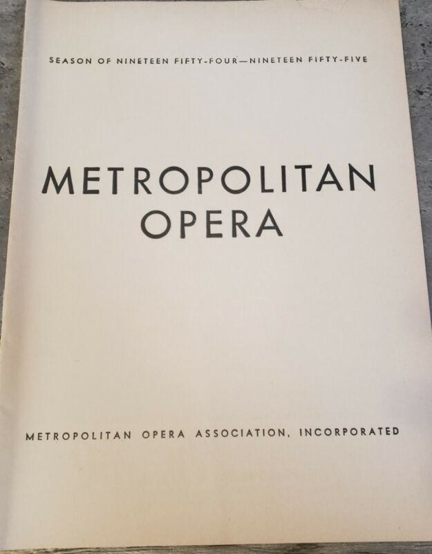 1955 Metropolitan Opera- Un Ballo In Maschera Playbill Program