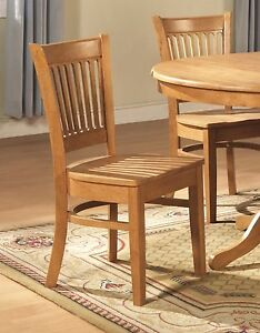 Set Of 4 Vancouver Dinette Kitchen Dining Chairs W Plain Wood Seat In Light Oak
