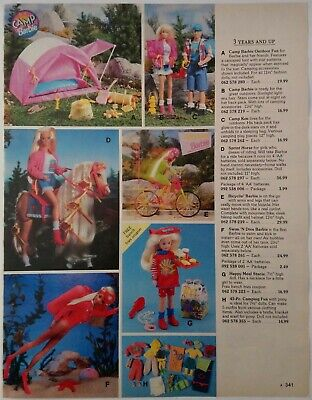 1994 Vintage PAPER PRINT AD BARBIE camp outdoor fun Ken doll horse stable Stacie