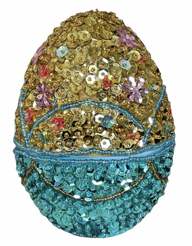 """GODIVA Sequined Easter Egg 5"""" Flower Gold & Teal Blue Candy Container"""