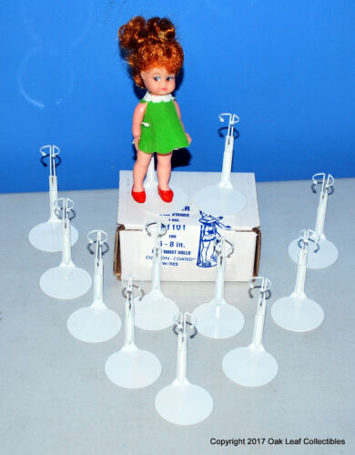 """12 Kaiser #1101 Doll Stands, White, for 6-7"""" tall like Dawn, other small dolls."""