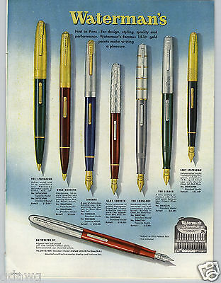 1953 PAPER AD Waterman's Fountain Pen Stateleigh Corinth Skywriter Sets