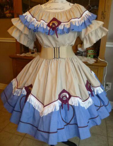 """SQUARE DANCE Outfit, Lg 2 Piece Beige/Blue Conchos & Fringe!  20.5"""" Long"""