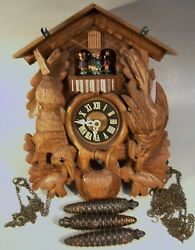 Black Forest Cuckoo Clock w/Dancers, West Germany Cuendet Swiss Musical Movement