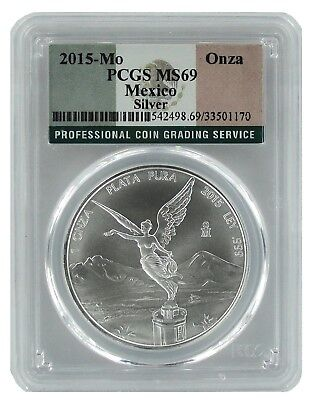 2015 Mexico 1oz Silver Onza Libertad PCGS MS69 Flag Label