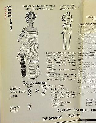 Vintage 1950s KASPER Designer Ribbon Dress SPADEA Sewing Pattern Size 12 # 1309