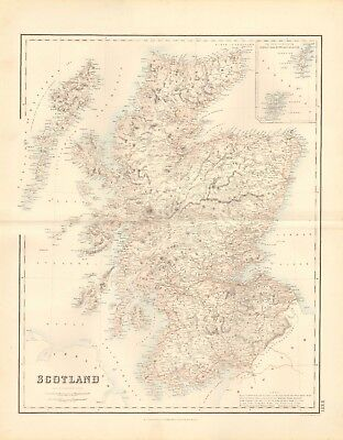 1874 ca LARGE ANTIQUE MAP- SWANSTON - SCOTLAND