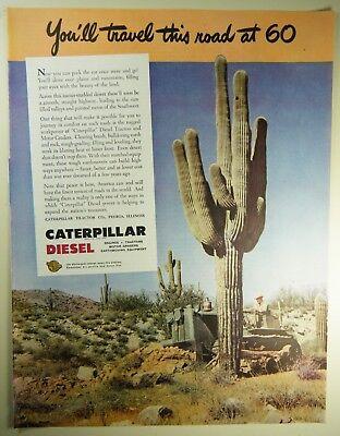 Vintage 1945 CATERPILLAR DIESEL TRACTOR Lg Magazine Print Ad ROAD CONSTRUCTION