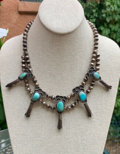 Antique Navajo Pearl Sterling Silver Blue Turquoise Squash Blossom Necklace