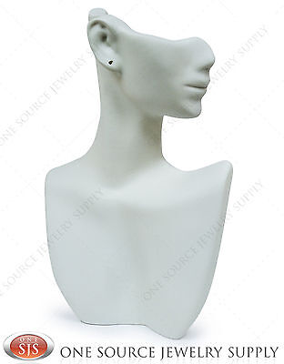 9tall White Pendant Display Stand Bust Mannequin Jewelry Display Partial Face