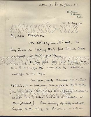 1909  Baden Powell original letter to King Edward VII. A UNIQUE SCOUTING RARITY!