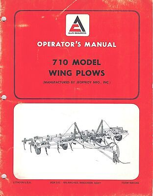 Allis Chalmers 710 Wing Plow Operators Manual New