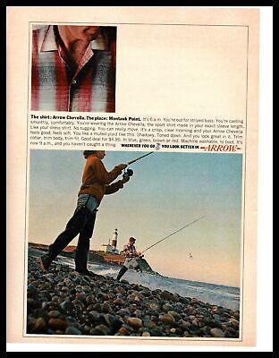 1964 Arrow Chevella Shirt Montauk Point Lighthouse Striped Bass Fishing Print Ad Montauk Lighthouse Clothing