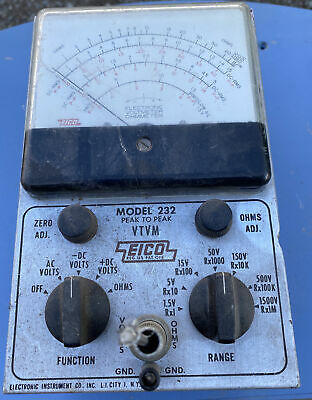 Eico Model 232 Peak To Peak Vtvm Cut Cables Has Connectors Untested Parts Only