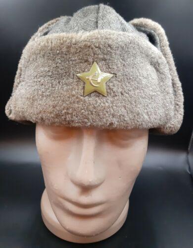 USSR Soviet Russian Military hat USHANKA with hot enamel,  1940-50 years
