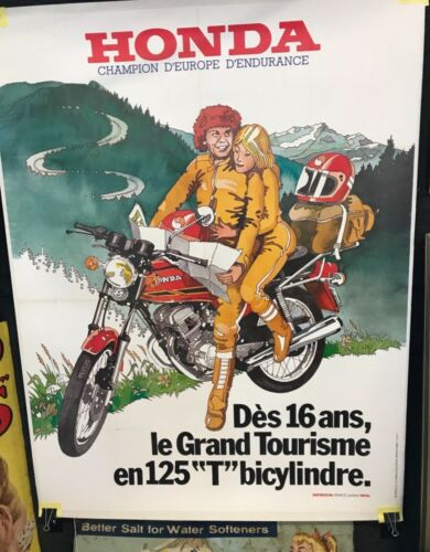 "Original Vintage HONDA Motorcycle Poster LARGE 47""x62"" pro backed on linen"
