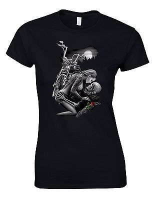 Gothic Riders Love in the Moonlight Ladies Woman Cut Tshirt Tee Top AK31 (Women In The Gothic)