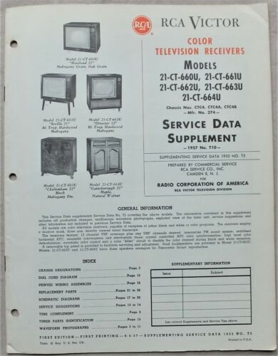 1957 RCA VICTOR CTC4~CTC4A,B SERIES COLOR TELEVISION TV RECEIVERS SERVICE DATA