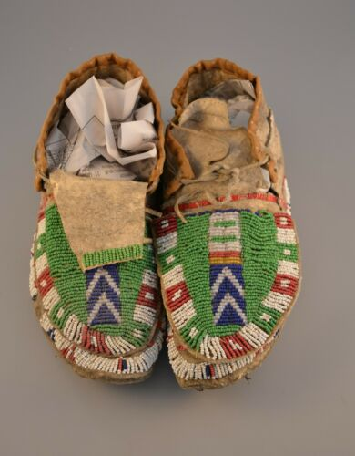 19th Century Plains Indian Beaded & Quilled Full Size Moccasins