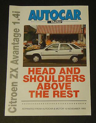 Citroen ZX Advantage 1.4i road test - reprinted from Autocar & Motor (Nov 1993)