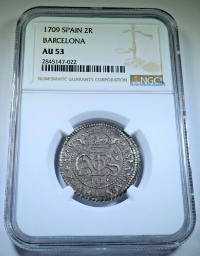 NGC AU-53 1709 Spanish Silver 2 Reales Old Antique 1700