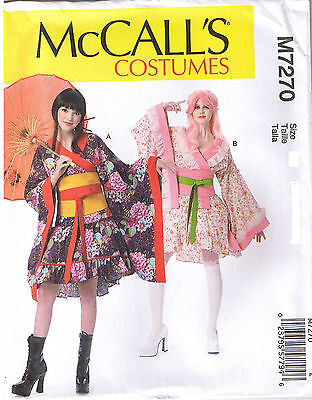 Easy Girl Costume (Easy Geisha Girl Kimono Top Skirt Obi Belt Costume Sewing Pattern 4 6 8 10)
