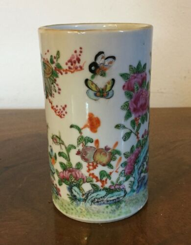 Vintage Chinese Porcelain Brush Pot Famille Rose Bird Butterfly Landscape Vase