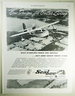 Vintage 1946 REPUBLIC AVIATION SEABEE Full-Page Lg Magazine Print Ad - Post WWII