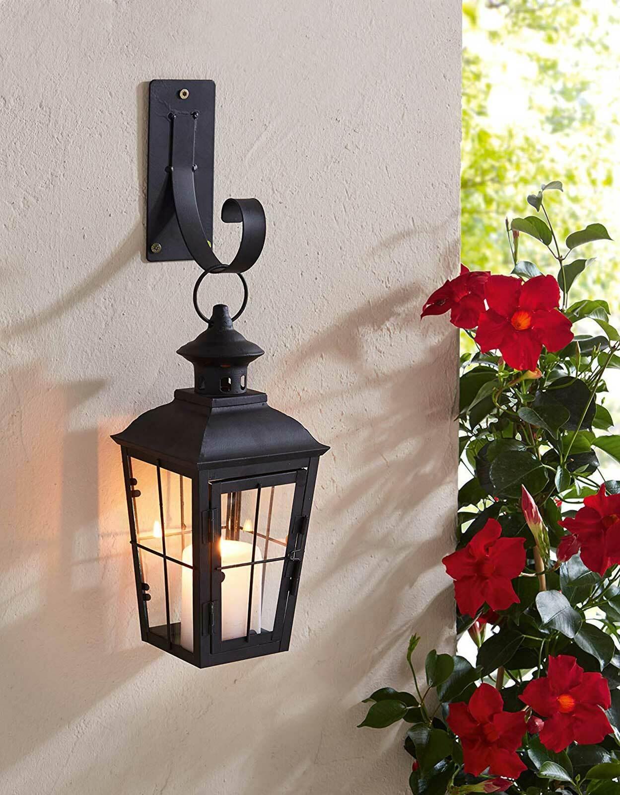 Laterne Wandlaterne mit Wand Halterung Wandleuchter Windlicht Kerzenhalter