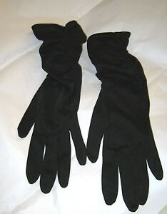 VTG Van Raalte black nylon ruched evening gloves size 6 1/2 USA NOS