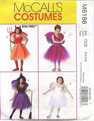 McCall's Costumes Pattern M6186 Tutu's and Wings Angel Fairy Devil Witch Uncut
