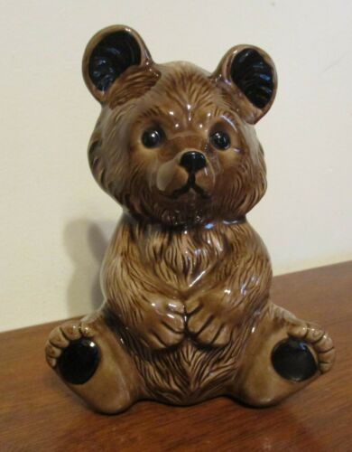 "Ceramic Brown Bear Piggy Bank ~5 3/4"" Tall~SUPER CUTE! EUC"
