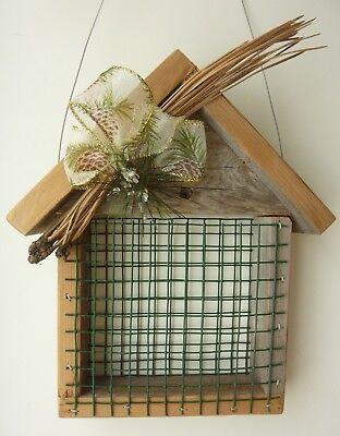 Handmade Upcycled Wooden Rustic Hanging Suet Bird Feeder Pine Needles Wildlife