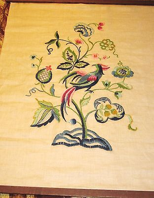Vintage hand embroidered hanging tapestry or floral cameo on linen wall hanging