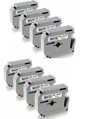 8-pkpack Label Tape For Brother P-touch Eqv M231 M-k231 Mk231 12mm Blackwhite