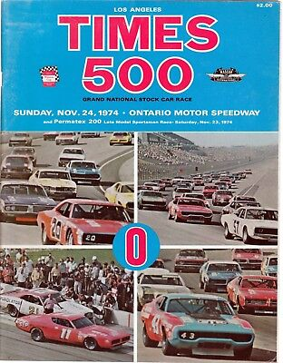 LA Times 500 Grand National Stock Car Race Program Nov. 24, 1974  Ontario  for sale  Shipping to Canada