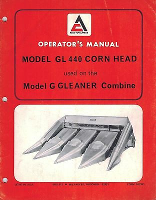 Allis Chalmers Gleaner Gl440 Corn Head Operator Manual