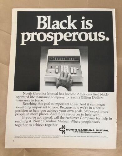 Mutual Insurance ad 1972 original vintage print 1970s retro art Black operated