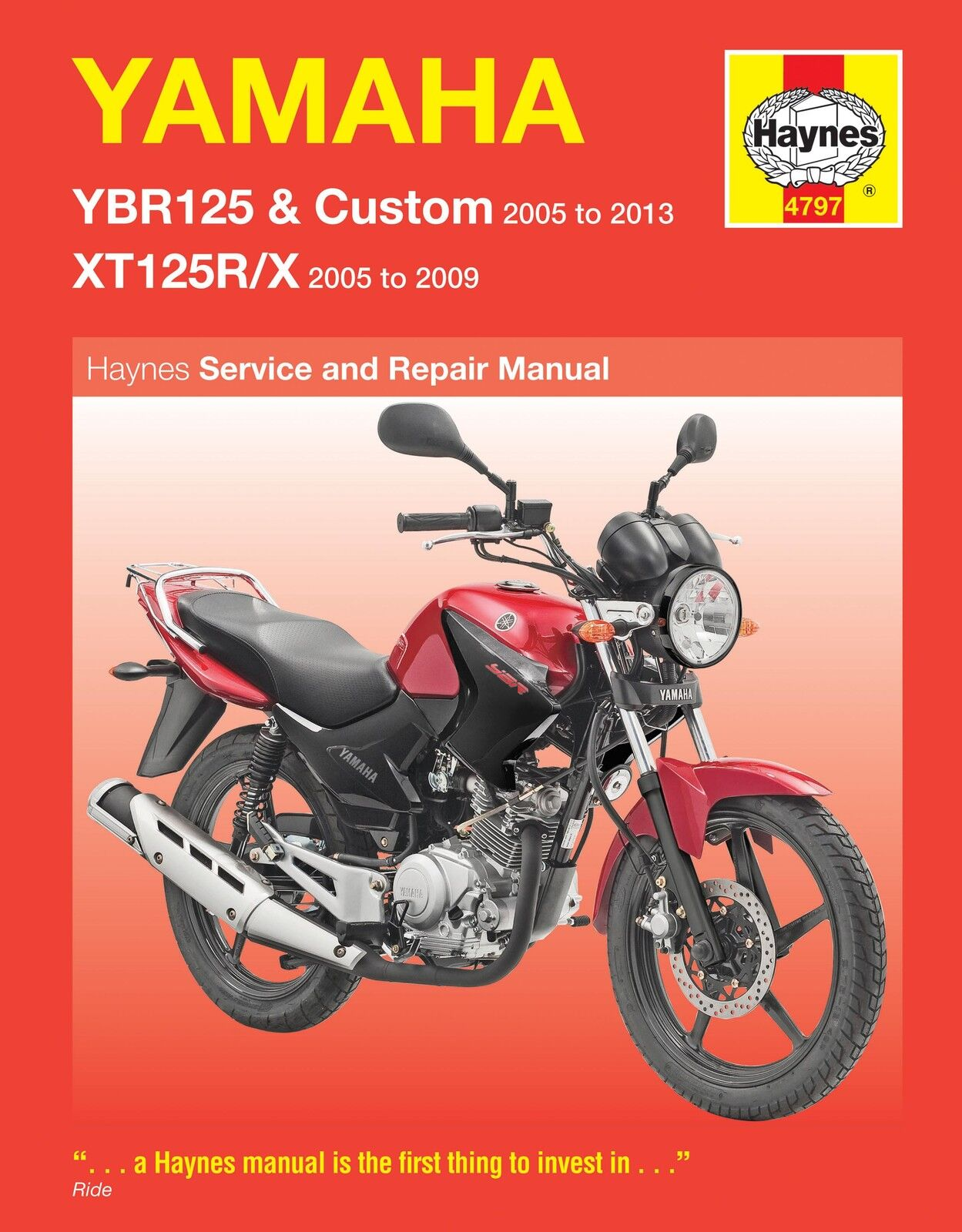 HAYNES 4797 MOTORCYCLE SERVICE REPAIR MANUAL YAMAHA YBR125 XT125R/X 2005 - 2009