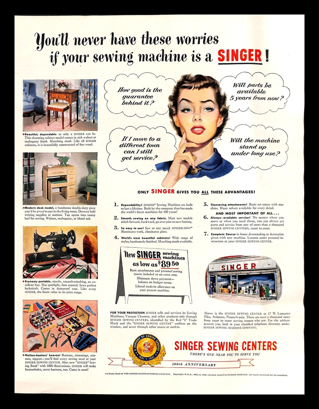 1951 Singer Sewing Centers Vintage Print Ad Machine Housewife 100th Anniversary Ebay