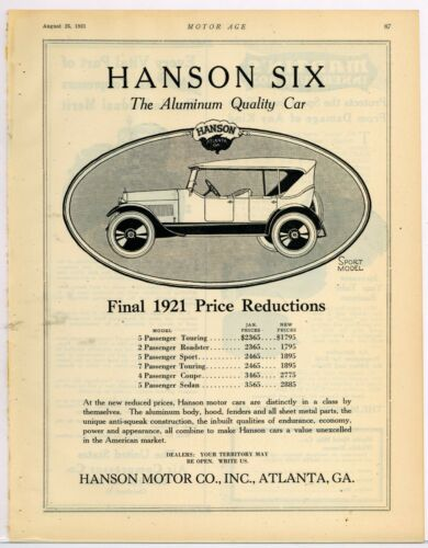 1921 Hanson Motor Co. Ad: Hanson Six Sport Model Automobile - Atlanta, Georgia
