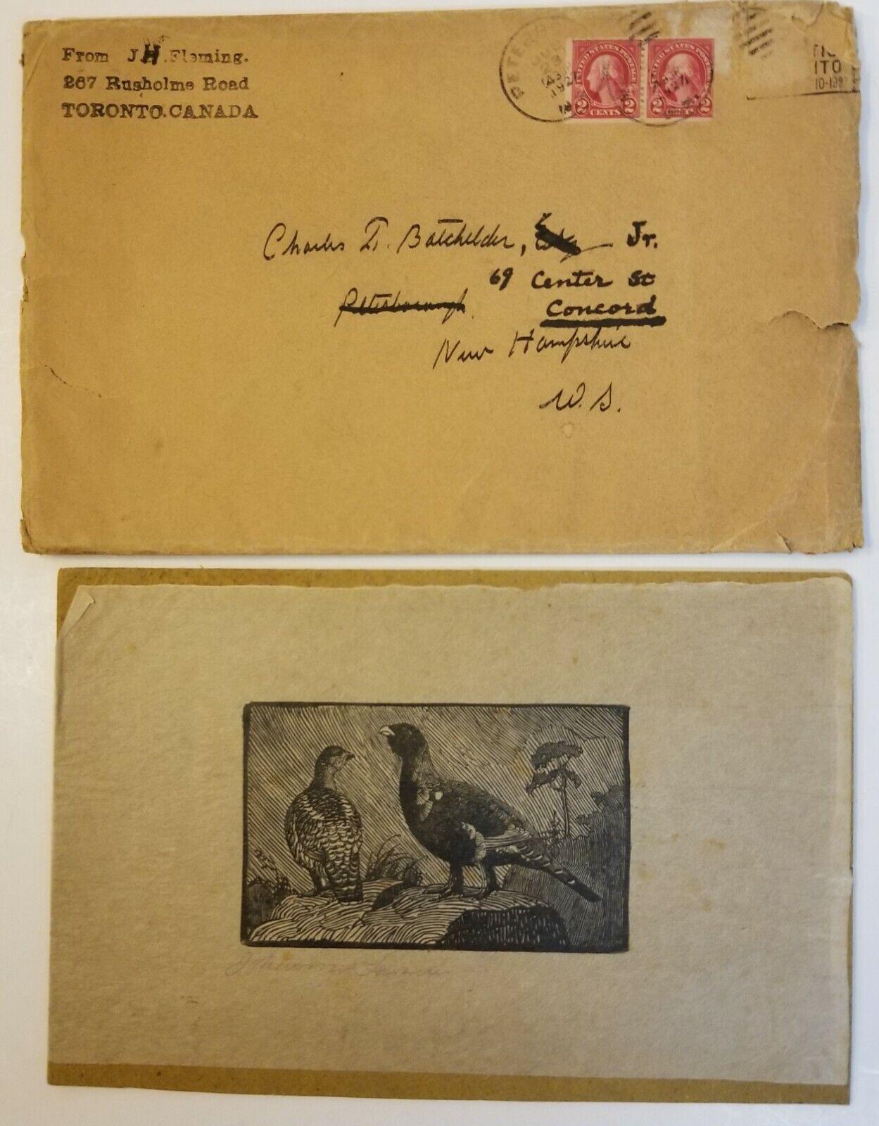 SJ112 SIGNED Johannes Larsen Pheasant Etching W/Fleming/Batchelder Provenance - $67.00
