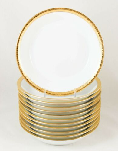 MINT SET 6 SOUP BOWLS HAVILAND PARLON LIMOGES MALMAISON RAISED GOLD ENCRUSTED
