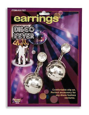 DISCO BALLS EARRINGS SILVER 70'S 80'S FANCY DRESS PARTY ACCESSORIES (70s Halloween Accessories)