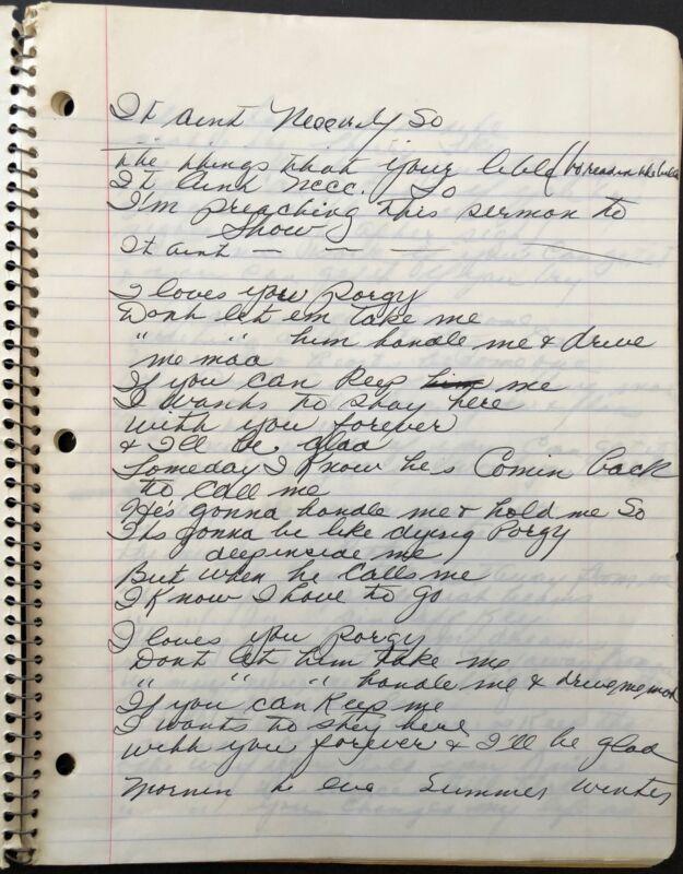 Sarah VAUGHAN (Jazz): Handwritten GERSHWIN Lyrics in Spiral-Bound Notebook