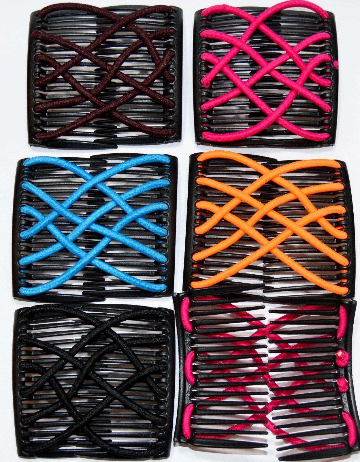 Trend African Hairclip XL Haarklammer Haarspange Haarkamm Elastich Comb 7 Farben